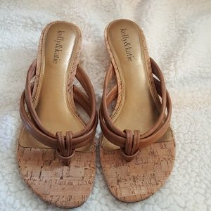 Kelly & Katie faux leather and cork thong sandals